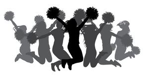 Jumping girls with pom-poms. Silhouettes of cheerleaders. Vector illustration vector illustration