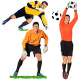 Jumping goalies Stock Images