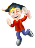 Jumping graduate and qualification. Cartoon man with certificate, qualification or other scroll jumping for joy with fist clenched. Education concept for Royalty Free Stock Photo