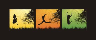 Jumping in the grass. Young girls jumping in the grass,vector illustration Stock Photos