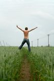 Jumping in green field royalty free stock photos