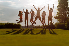 Jumping on the green meadow Stock Photography