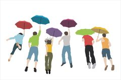 Jumping group with umbrellas Stock Photos