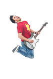 Jumping guitarist shouting Stock Photography