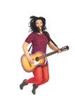 Jumping guitarist woman Stock Photo