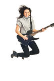 Jumping guitarist woman Royalty Free Stock Photo