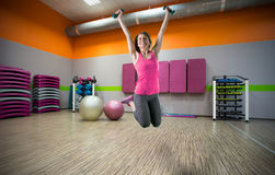 Jumping at the gym Stock Image