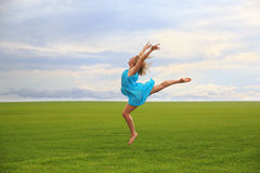 Jumping gymnast Royalty Free Stock Photo