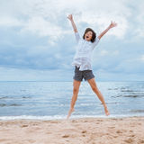 Jumping of happiness Stock Photography