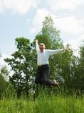 Jumping  happy adult businessmen Royalty Free Stock Photo