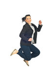 Jumping happy business woman Royalty Free Stock Image