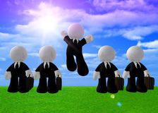 Jumping happy businessman icon Royalty Free Stock Photos