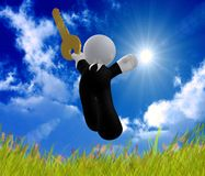 Jumping happy businessman icon. Happy icon symbol on a sunny day Stock Photos