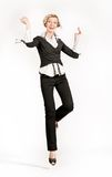 Jumping happy businesswoman Royalty Free Stock Image