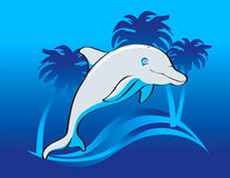 Jumping happy dolphin. With waves and palms Royalty Free Illustration