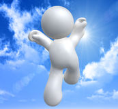 Jumping happy icon. Happy icon symbol on a sunny day Stock Image