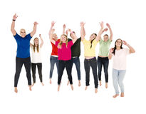 Jumping Happy People. On white background Royalty Free Stock Photography
