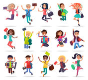 Jumping Happy People with Bags and Books in Hands Stock Image