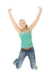 Jumping happy teen girl Stock Photo