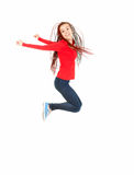 Jumping happy teen girl, full length Royalty Free Stock Photos