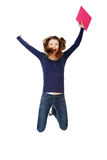 Jumping happy teen student girl Stock Images