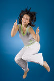 Jumping happy woman royalty free stock photo