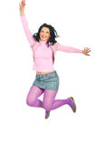 Jumping happy woman Royalty Free Stock Image
