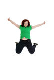 Jumping happy woman Stock Images