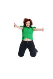 Jumping happy woman Stock Photo