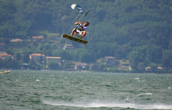 Jumping high. The Fiat freestyle Kiteboard World Cup 2008 held in lake of Como in Colico(Italy) from 1st july to 6th july Royalty Free Stock Photography
