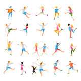 Jumping high male and female people avatar set vector illustration. Joy and achievement, person woman and man, vector illustration royalty free illustration