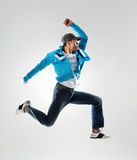 Jumping hip hop dancer Royalty Free Stock Image