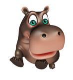 Jumping Hippo cartoon character Stock Photo