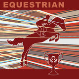Jumping horse. Silhouette with art background Royalty Free Stock Photo