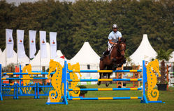 Jumping horse. BREDA, HOLLAND - SEPT 3: Jockey on horse jumping during yearly cross country contest at Outdoor Brabant, formerly Breda Hippique on September 3 Stock Images