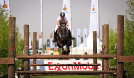 Jumping horse. BREDA, HOLLAND - SEPT 3: Jockey on horse jumping during yearly cross country contest at Outdoor Brabant, formerly Breda Hippique on September 3 Stock Photo