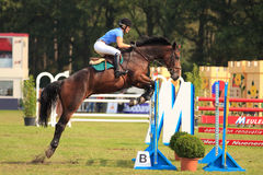 Jumping horse. BREDA, HOLLAND - SEPT 3: Jockey on horse jumping during yearly cross country contest at Outdoor Brabant, formerly Breda Hippique on September 3 Stock Image