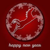 Jumping horse. Happy new year. Stock Photo