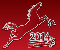 Jumping horse. Happy new year. Royalty Free Stock Images