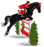 Jumping horse and jockey. Show Jumping. Jockey on a beautiful black horse jumps over a barrier Royalty Free Stock Photography
