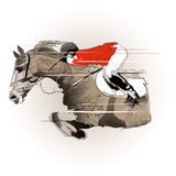 Jumping horse and jockey Stock Images