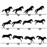 Jumping horse phases. Set of 12 jumping horse phases silhouettes vector illustration