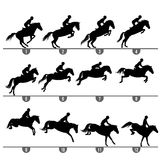 Jumping horse phases. Set of 12 jumping horse phases silhouettes royalty free illustration