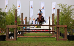 Jumping horse with rider. BREDA, HOLLAND - SEPT 3: Jockey on horse jumping during yearly cross country contest at Outdoor Brabant, formerly Breda Hippique on Stock Photos