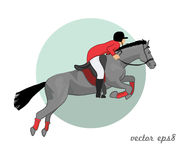 Jumping horse and rider. Illustration Royalty Free Stock Photos