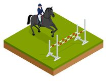 Jumping horse and rider practicing at racetrack. Isometric vector illustration Champion. Horse-racing. Hippodrome. Racetrack. Jump racetrack Royalty Free Stock Photos