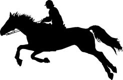 Horse Rider Jumping Silhouettes Stock Photos