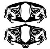 Jumping horses black and white vector heraldic design set Royalty Free Stock Photos