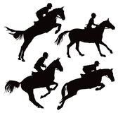 Jumping horses with jockey. Black and white illustration Royalty Free Stock Images