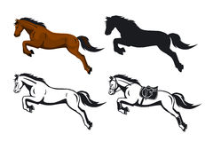 Jumping Horses Set in color, silhouette and contoured Royalty Free Stock Images